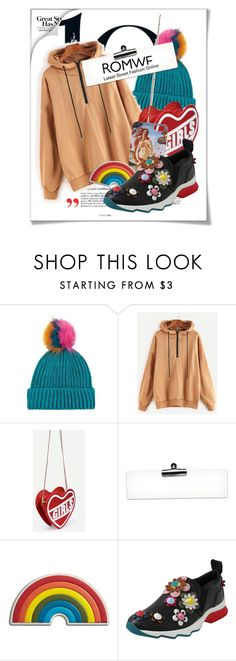 """""""Khaki Dropped Shoulder Seam Zip Detail Drawstring Hoodie by romwe"""" by cultofsharon ❤ liked on Polyvore featuring Polaroid, Topshop, Anya Hindmarch, Fendi, contest, romwe and contestentry"""