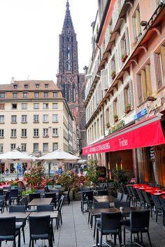Cafe a Strasbourg  Den Straßburger Münster immer im Blick