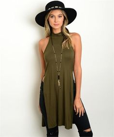 You won't mind a few stares in the Carrie Olive Side Slit Top Tunic Top! Lightweight jersey knit falls from a sleeveless, mock neck down to a relaxed bodice with sexy double side slits. Boho Summer Outfits, Boho Outfits, Cute Outfits, Fashion Outfits, Western Outfits, Fasion, Gypsy Style, Hippie Style, My Style