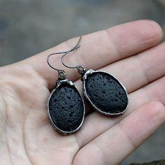 Dangle earings with VOLCANIC LAVA dangling black by JoannaJagoda