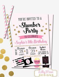 Slumber Party Invitation, Sleepover Invitation, Pajama Party Invitation, Sleep Over, Pink and Black, Gold Glittler, Digital, Girl's Slumber