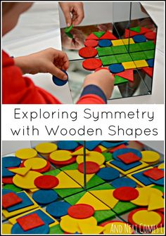 Simple toddler & preschool math - exploring symmetry with wooden shapes