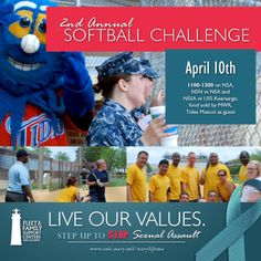 Join us for the Annual Sexual Assault Awareness Month Softball Challenge, April Naval Station Norfolk, April 10th, Support Center, Family Support, Softball, Join, Challenges, Baseball Cards, Things To Sell