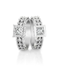 Princess cut engagement rings set in white gold Princess Cut Engagement Rings, Beautiful Engagement Rings, Jenna Clifford, Dream Ring, Girls Best Friend, Diamond Jewelry, Jewelery, White Gold, Wedding Rings