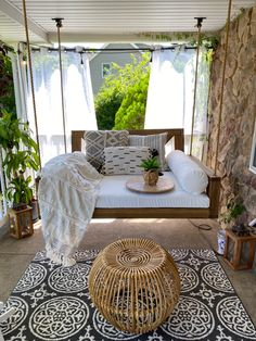 Swing Beds, Porch Swing, Wooden Rocking Chairs, Wooden Swings, Exterior Paint, Outdoor Furniture, Outdoor Decor, Acre, Pillows