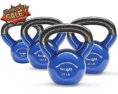 Vinyl Coated Cast Iron Kettlebell Weight Set 10152025 lbs - KYXBH8