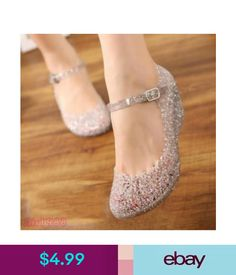 7edabfbb1bb8 2017 Womens Sandals High Heels Girls Wedge Glass Jelly Shoes Ankle Strap  Sandals  ebay