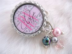 Grey Animal Print Nurse Accessory Personalized Nurse ID Badge Reel RN Lmt Nicu Grey Cheetah Print Pink Bottle cap Jewelry Necklace Holder Pull ID Clip, Medical accessory