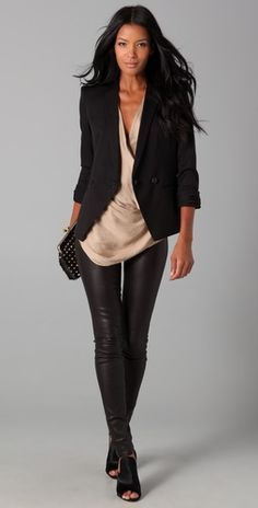 Leather pants, blazer & open toe boots..