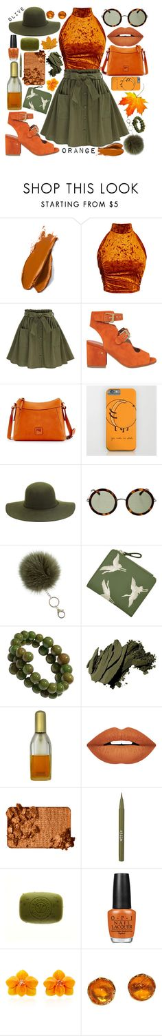 """""""🍊 olive & orange 🍊"""" by wonderland-x ❤ liked on Polyvore featuring Balmain, Laurence Dacade, Dooney & Bourke, Linda Farrow, Bobbi Brown Cosmetics, Clinique, Forever 21, Too Faced Cosmetics, Stila and OPI"""
