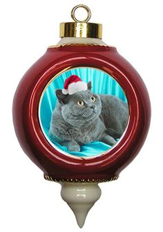 British Shorthair Cat Victorian Red & Gold Christmas Ornament