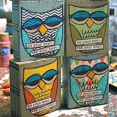 Simple and inexpensive teacher gifts! art blocks with an inspiring message for both teachers and students. Then why do all the owls look super stoned? Cute Teacher Gifts, Teacher Christmas Gifts, Christmas Ideas, For Elise, Owl Always Love You, Owl Crafts, Easy Crafts, Kids Wood, Owl Art