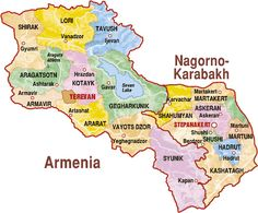 Map of Armenia and Nagorno-Karabakh.  Breaks out provinces for both.