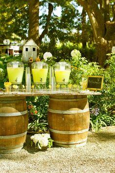 2 Wine barrels + vintage door makes a perfect table!