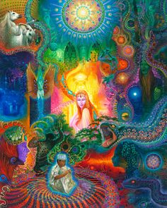 Warmi Bobinzana by Anderson Debernardi | Visionary Art | Ayahuasca Paintings #VisionaryArt #AndersonDebernardi #Ayahuasca #PabloAmaringo #oilPainting #owlis Canvas Art Prints, Artwork Prints, Psy Art, Mystique, Hippie Art, Visionary Art, Psychedelic Art, Online Art Gallery, Oeuvre D'art