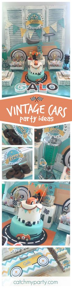 Ready, Steady GO! You'll love this Vintage car birthday Party! The birthday cake is awesome! See more party ideas at CatchMyParty.com