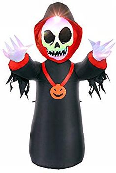 Blow up Inflatable Halloween Decorations - Kids Love It, Easy Setup, Bright LED at Night, Safe! Water Resistant for Outdoor or Balcony, 4 FT ** You can find out more details at the link of the image. (This is an affiliate link) Foot Skeleton, Halloween Decorations For Kids, Holiday Decorations, Outdoor Gardens, Halloween Face Makeup, Led, Lights, Balcony, Amazon Codes