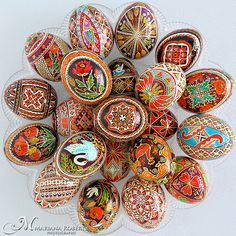 Ukrainian pysanky-Anna Perun's Beautiful Pysanky - Real Handmade Traditional Ukrainian Chicken and Goose Eggs Egg Crafts, Easter Crafts, Easter Decor, Carved Eggs, Ukrainian Easter Eggs, Ukrainian Art, Diy Ostern, Egg Designs, Faberge Eggs