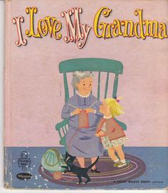 I Love My Grandma 1960 Whitman Tell-a-Tale Book Florence Jenkins Hoag Flocked Cover - vintage children's book