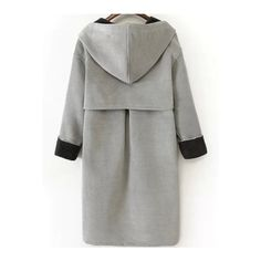 Grey Hooded Pockets Buttons Long Coat (805 MXN) ❤ liked on Polyvore featuring outerwear, coats, longline coat, black coat, button coat, black button coat and long black coat