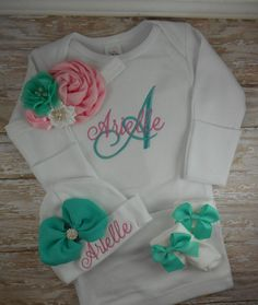 Junie grace newborn girl coming home outfit baby girl baby girl coming home outfit personalized baby gown baby girl coming home gown baby girl clothes sweet custom personalized baby gown negle Choice Image