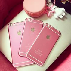 love pink! macarons color phone case available for iphone 5 5s 6 6plus pink / gold / silver / blue / black