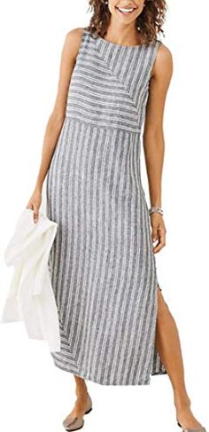 online shopping for NORACORA Holiday Shift Slit Striped Sleeveless Dress from top store. See new offer for NORACORA Holiday Shift Slit Striped Sleeveless Dress Linen Dresses, Plus Size Dresses, Casual Dresses, Fashion Dresses, Sleeveless Dresses, Girly Outfits, Corsage, Types Of Sleeves, Dresses Online