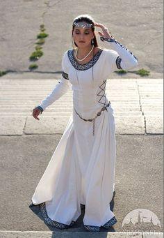 White Medieval Wedding Dress Chess Queen