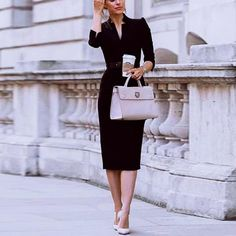 Autumn And Winter Commuter Style Solid Color Tight Dress Bag Hip Skirt Bodycon Dress Office Outfits Women, Casual Outfits, Casual Clothes, Bodycon Dress Parties, Party Dress, Tight Dresses, Dresses For Work, Spring Skirts, Prom Dress Shopping
