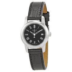 Tissot Classic Dream Black Dial Black Leather Ladies Watch T0332101605300 #Tissot