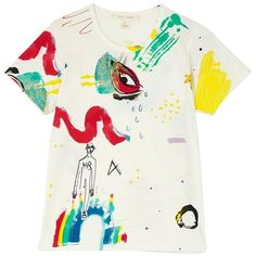Marc Jacobs Collage Print Classic Tee ($205) ❤ liked on Polyvore featuring tops, t-shirts, white tee, white t shirt, slim t shirt, slimming tops and marc jacobs