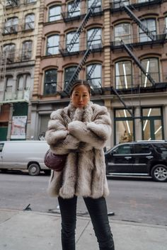 Faux Fur Coat For Staying Warm In New York