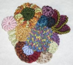 6. continue adding more of your favourite stitches - Bullions - Fairy wings - offset Cluster