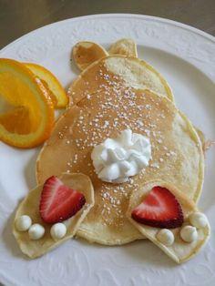 Orange ricotta Easter Bunny pancakes