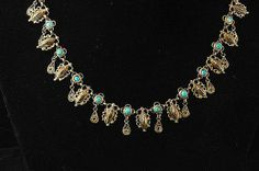 Persian Blue Turquoise Vermeil Necklace Antique by EtsyClassic, $195.00 Old Jewelry, Antique Jewelry, Persian Blue, Turquoise, Antiques, Trending Outfits, Handmade Gifts, Etsy, Vintage
