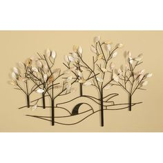 Oil Rubbed Bronze Tree Lined Street Wall Sculpture