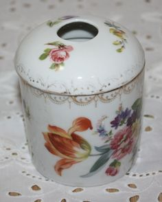 Vintage Handpainted Hair Receiver with Top Flowers Made in Germany Marked S  Jar