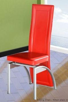 Hilton Red Plain Dining Chair (Pair)