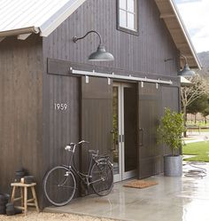 Modern House Numbers, Warehouse Lighting and Barn Door Farmhouse Garage | Rejuvenation