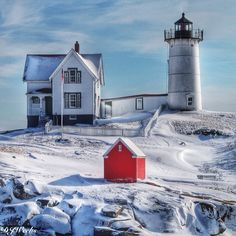 Winter at Nubble Lighthouse York Maine