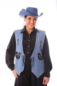 Blue Denim Applique Vest