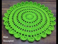 Crochet Beautiful Doily Step By Step Tutorial – Crochet Ideas Crochet Placemat Patterns, Crochet Doily Rug, Crochet Circles, Crochet Dishcloths, Crochet Tablecloth, Crochet Stitches Patterns, Crochet Home, Diy Crochet, Crochet Designs