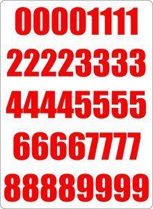 Set 40x autocollant sticker porte voiture moto numero nombre chiffre course rouge