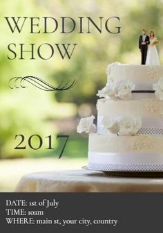 Wedding cake bride groom showcase flyer with black text 'wedding show' Wedding Show, Flyer Template, Bride Groom, Wedding Cakes, Place Card Holders, Templates, Black, Design, Wedding Gown Cakes