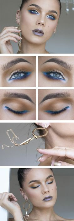 tuto maquillage comment se maquiller avec du crayon en bleu électrique et blanc