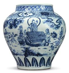A large blue and white 'Windswept' jar, Ming dynasty, century Blue And White China, Blue China, Blue Pottery, Pottery Art, Pottery Bowls, Porcelain Ceramics, White Ceramics, Ceramic Jars, Traditional Literature