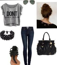 Cute spring outfit  Using: don't t shirt (cropped gray)  Abercrombie skinny jeans Messy bun Black bag Any kind of bracelet (black) Sandals (black rim) Sunglasses (bronze rim)