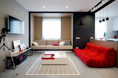 open-space-living-room-pops-of-red-togo-sofa - Home Decorating Trends - Homedit City Apartment, Colorful Apartment, Apartment Ideas, Stylish Bedroom, Modern Bedroom, Small Apartments, Small Spaces, Furnished Apartments, Luxury Apartments
