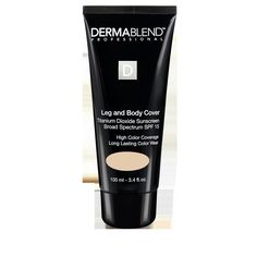 This high-performance, full-coverage Dermablend Leg and Body Cover is a lightweight formula based on high-performance technology. The SPF 15 helps protect from the sun's damaging rays, and high-purity pigments deliver up to 16 hours of coverage.