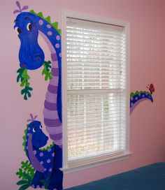 Who said girls don't like dinosaurs? Especially when they are painted blue & purple and peeking out around your window!